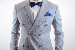 Grey suit plaid texture, bowtie, pocket square Stock Photo