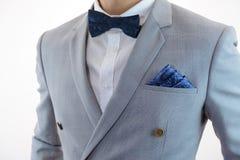 Grey suit plaid texture, bowtie, pocket square Stock Image