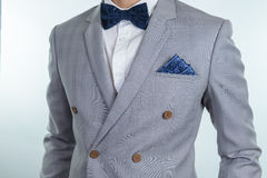 Grey suit plaid texture, bowtie, pocket square Royalty Free Stock Photos
