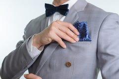 Grey suit plaid texture, bowtie, pocket square Stock Photography