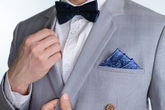 Grey suit plaid texture, bowtie, pocket square Royalty Free Stock Image