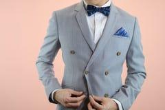 Grey suit plaid texture, bowtie, pocket square Royalty Free Stock Image