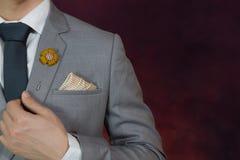 Grey suit plaid texture, necktie, brooch, handkerchief Royalty Free Stock Photo