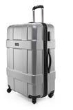 Grey suitcase plastic half-turned Stock Photo