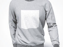 Grey sweatshirt with blank square Royalty Free Stock Images