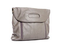 Grey Synthetic Purse. Closeup of a grey synthetic purse isolated on white Royalty Free Stock Image