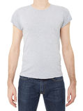 Grey t-shirt on man on white Stock Images