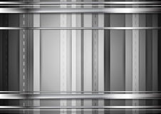 Grey tech background with silver stripes. Grey tech background with silver metal stripes. Vector monochrome graphic design Stock Photos