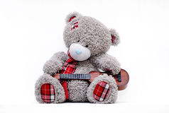 Grey teddy bear with guitar Royalty Free Stock Image