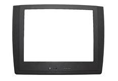 Grey television on white. A dark grey television set on white background. The file has two clipping paths Stock Images