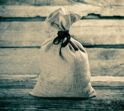 Grey tied sack Royalty Free Stock Photography