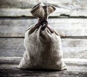 Grey tied sack Royalty Free Stock Images