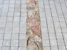 New modern sidewalk with natural stones, Lithuania Royalty Free Stock Photography