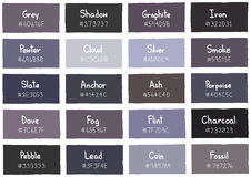 Grey Tone Color Shade Background with Code and Name Royalty Free Stock Photography