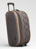 Grey travel bag. Close up  on light background Royalty Free Stock Photo