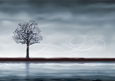 Grey tree over water