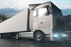 Grey truck sideview Stock Images
