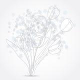 Grey Tulip flowers background design. Grey Tulip flowers illustration background Royalty Free Stock Photo