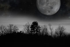 Grey Twilight Moon Royalty Free Stock Photography