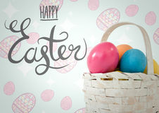 Grey type with basket of eggs against blue and pink easter pattern. Digital composite of Grey type with basket of eggs against blue and pink easter pattern Royalty Free Stock Photography