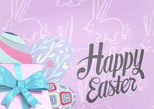 Grey type and pink gift and purple eggs against purple easter pattern Stock Images