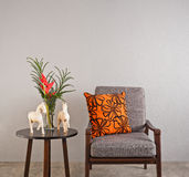 Grey upholstered chair Royalty Free Stock Photo