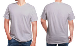 Grey V-Neck shirt design template. Grey t-shirt mock up, front and back view, isolated. Male model wear plain grey shirt mockup. V-Neck shirt design template stock images