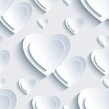 Grey Valentine's Day seamless pattern with 3d hearts vector illustration