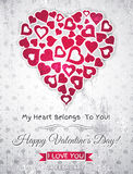 Grey valentines day greeting card  with  white hea Stock Images