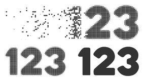 Dust Pixel Halftone Digits Icon. Grey vector digits icon in dissolved, pixelated halftone and undamaged solid variants. Disappearing effect uses rectangular dots vector illustration