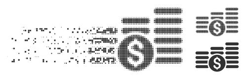 Moving Pixel Halftone Finances Icon. Grey vector finances icon in fractured, dotted halftone and undamaged entire variants. Disintegration effect involves square Royalty Free Stock Images