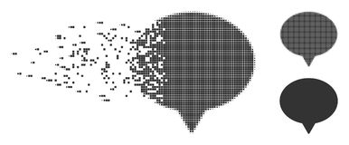 Destructed Pixel Halftone Hint Icon. Grey vector hint icon in fractured, dotted halftone and undamaged whole variants. Disintegration effect involves square Royalty Free Stock Photo