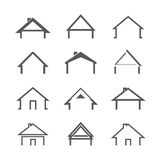 Grey Vector Houses. Vector Icons Stock Image