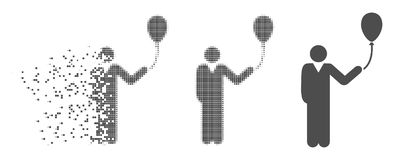 Dissolved Pixel Halftone Man With Holiday Balloon Icon. Grey vector man with holiday balloon icon in fractured, pixelated halftone and undamaged solid variants Stock Photo
