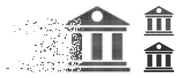 Fragmented Pixel Halftone Museum Icon Stock Illustration