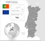 Grey Vector Political Map van Portugal stock illustratie