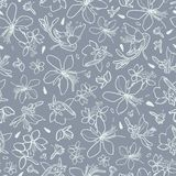 Grey pattern with white lily. royalty free illustration