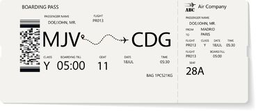 Grey vector template of boarding pass ticket. Concept of trip, journey or travel by plane vector illustration