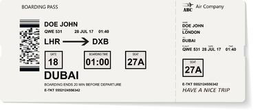 Grey vector template of boarding pass ticket. Concept of trip, journey or travel by plane royalty free illustration