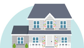 Grey vector two story house. Vector illustration of grey house in flat style design Royalty Free Stock Photo