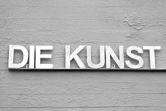 Grey version of DIE KUNST with different colors royalty free stock photography