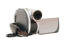 Grey  Videocamera isolated on white background Royalty Free Stock Photography