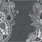 Grey vintage floral ornamental template on flower Royalty Free Stock Photography