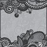 Grey vintage floral ornamental template on flower Stock Image
