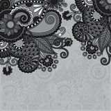 Grey vintage floral ornamental template on flower Stock Photo