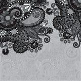 Grey vintage floral ornamental template on flower Stock Photo