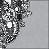 Grey vintage floral ornamental template on flower Stock Photography