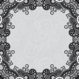Grey vintage floral ornamental template on flower Stock Image