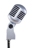 Grey vintage microphone on a white background Royalty Free Stock Photography