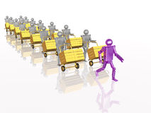 Grey and violet robots with casegoods Royalty Free Stock Photos